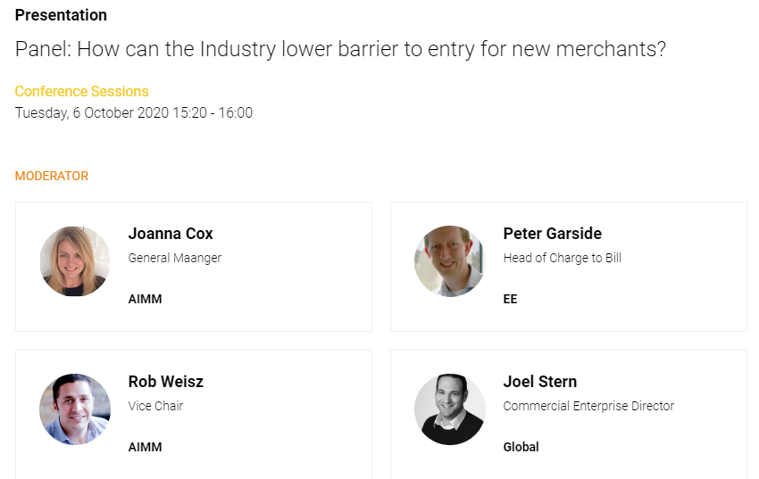 Carrier Billing Summit Panel with aimm members 6th October